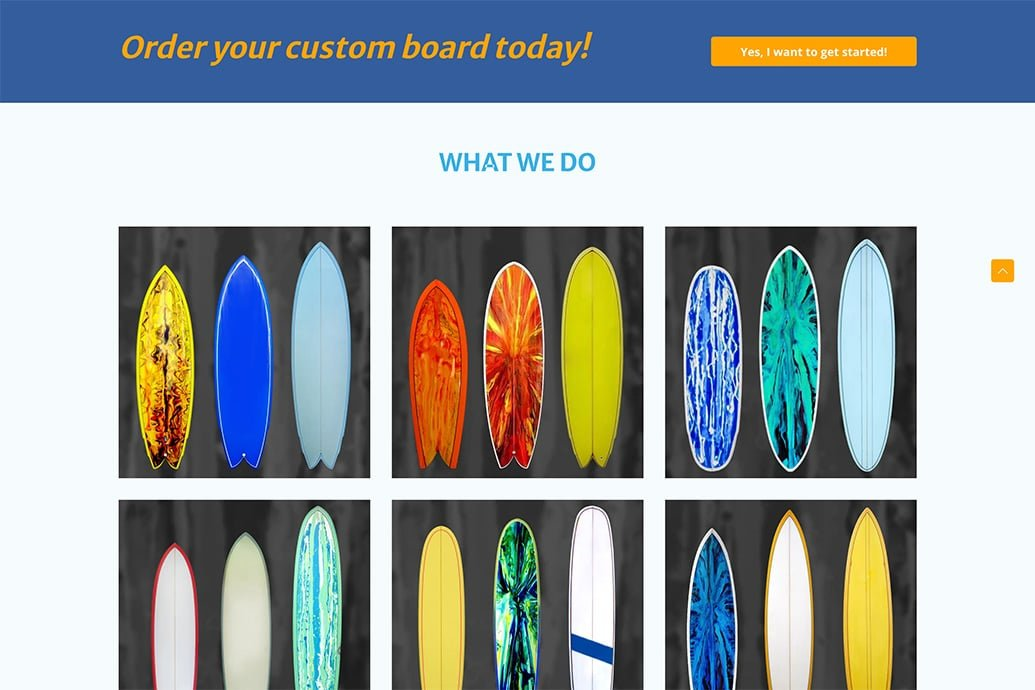 The frontpage with various surfboard models
