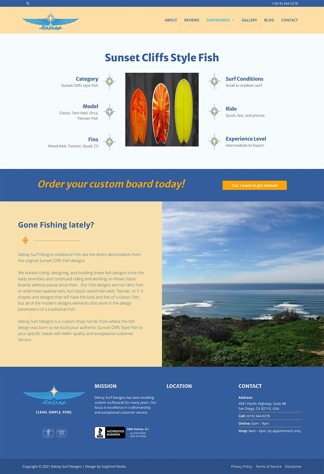 The webpage for sunset cliffs style fish surfboards